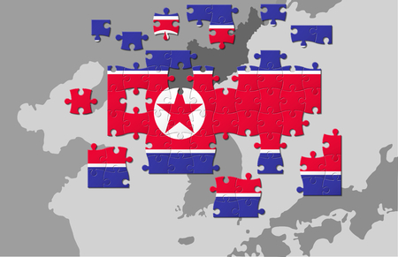 Flags of North Korea as a puzzle, conflict concept Stock Photo