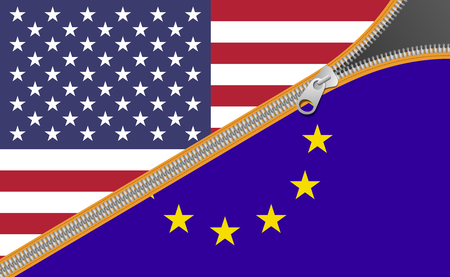Flags of United States of America and European Union, alliance concept Stock Photo
