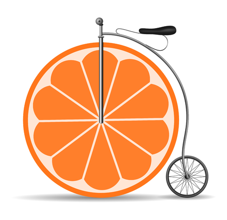 Retro citrus bicycle, abstract illustration