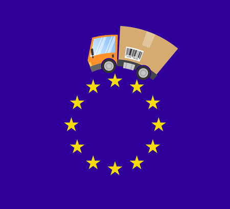 Delivery truck with cardboard box, international trade in the European Union