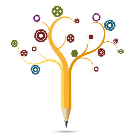 Pencil like a tree, concept education, gears