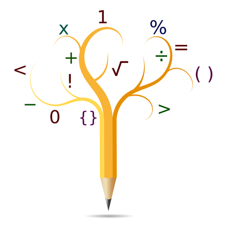 Pencil like a tree, concept education, mathematics