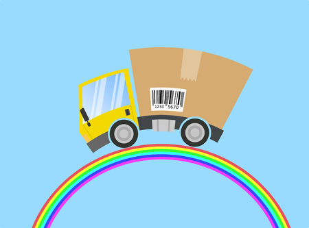 Delivery truck with cardboard box, abstract rainbow