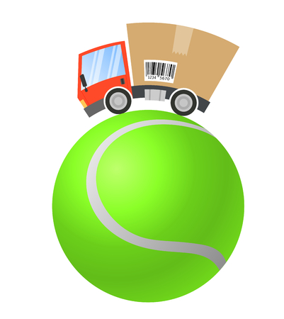 Delivery truck with cardboard box, sport business Illustration