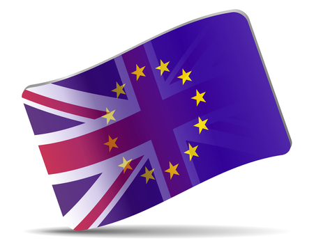 Flag of Great Britain and European union, concept brexit