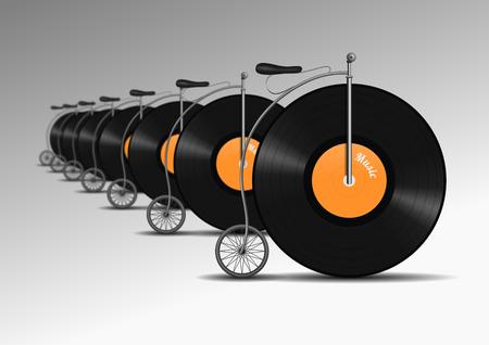 Retro vinyl record bicycle