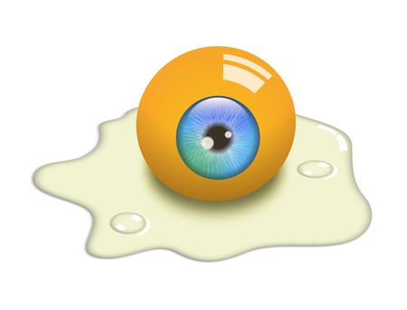 Illustration of a raw egg, concept salmonella or jaundice