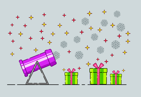 Snow cannon and gift box