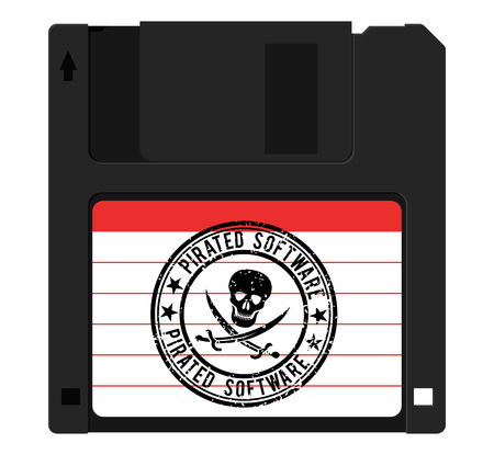 Diskette with pirated software, stamp with a skull
