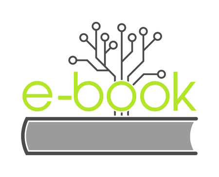 Icon eBook, printed circuit like tree Banque d'images - 121826779