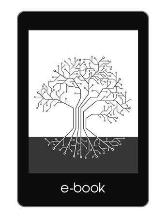 Icon eBook, printed circuit like tree Banque d'images - 121826780