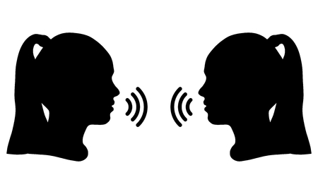 Silhouettes of girls, communication or argument