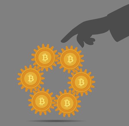 Abstract gears like bitcoins