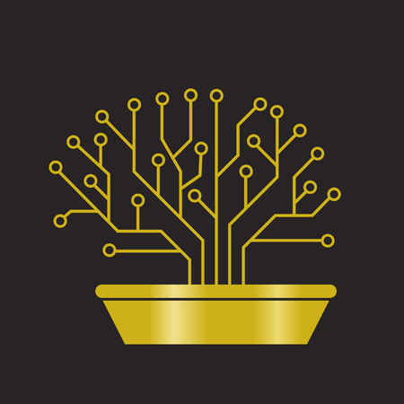Gold printed circuit like bonsai, brain shape Vektoros illusztráció