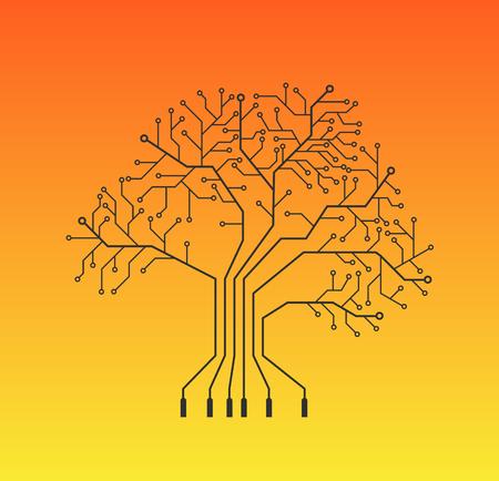 Printed circuit like tree, orange background