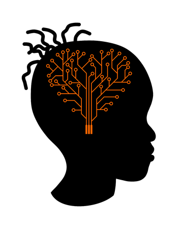 Girl silhouette with a brain printed circuit, shape heart