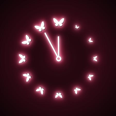 Five minutes to twelve, neon fluorescent lamp Stock Photo