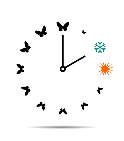 Winter and summer time, clock with butterflies 矢量图像