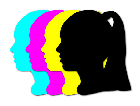 Silhouette of a girl's head, cmyk colors
