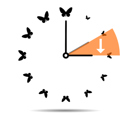Summer time, clock with butterflies