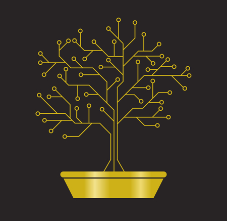 Gold printed circuit like bonsai, abstract electronic scheme
