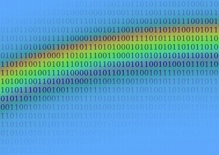 Abstract cloud, sky with rainbow and data, binary code