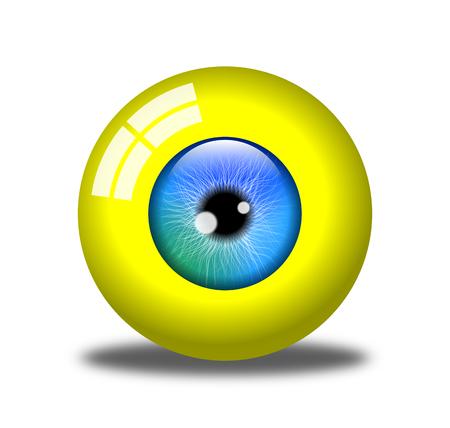 Jaundice, realistic yellow eye, illustration on a white background