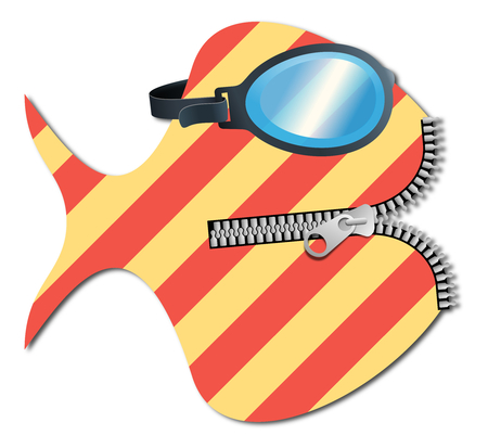 Striped fish with diving goggles and zip Stock Photo