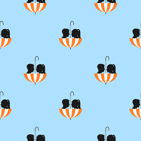 Silhouette of girl and boy in umbrella, seamless pattern