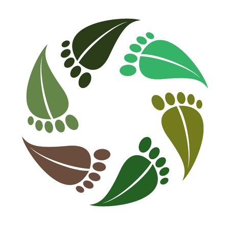 Symbol barefoot, leaves as footprint, logo