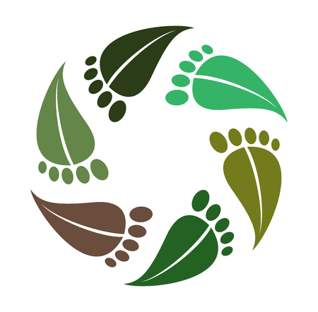 Symbol barefoot, leaves as footprint, logo