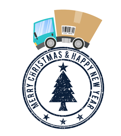 Stamp merry christmas, delivery truck with cardboard box, speed motion
