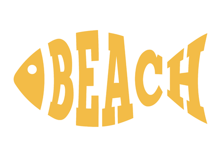Abstract fish text beach, travel and holiday