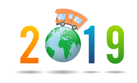2019 Happy New Year,caravan car confort travel on holiday Banque d'images - 109851512