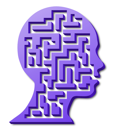 Silhouette of a girls head, mind maze, 3d labyrinth Stock Photo