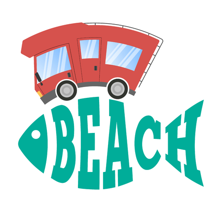 Caravan car confort travel on holiday and abstract fish text beach  イラスト・ベクター素材