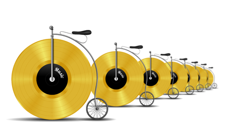 Retro gold vinyl record bicycle in perspective