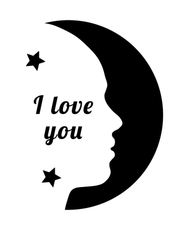 Beautiful girl silhouette and moon, symbol love and text i love you Vettoriali