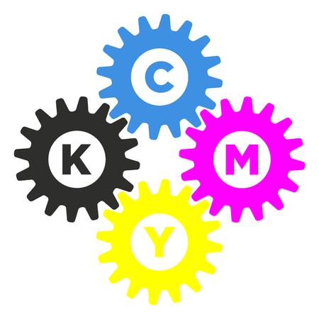 Simple cmyk symbol, gears vector illustration