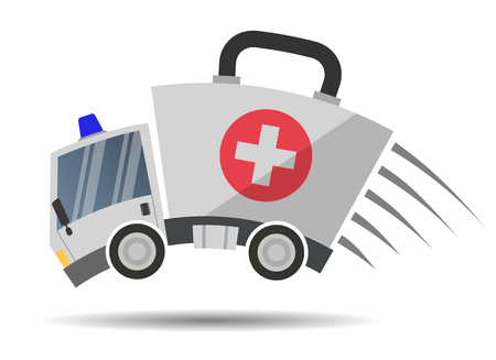 Ambulance car emergency auto as first aid kit, vector illustration flat