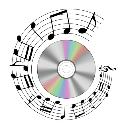 Realistic cd with a note record shape circle, illustration Stock Photo