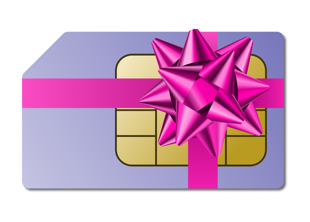 Abstract sim card and ribbon as gift, illustration white background