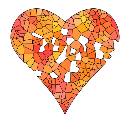 Low polygonal illustration, broken heart, vector white background