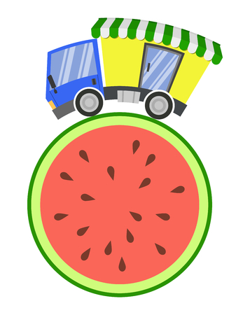 Delivery truck with shop and melon, concept fast trade
