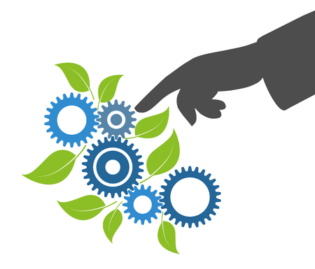 Gears and leaves, concept economy industry business, industrial environmental