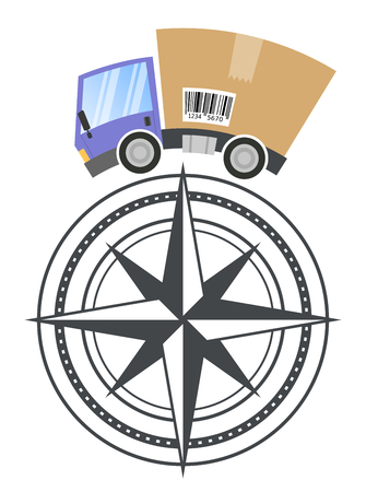 Delivery truck with cardboard box and compass, vector illustration