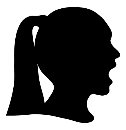 Black silhouette head girl, communication or shriek Illusztráció
