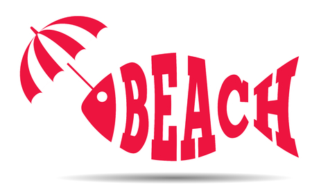 Abstract fish text beach with umbrella, travel and holiday