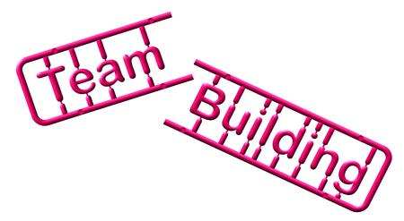Abstract plastic kit, text team building, illustration