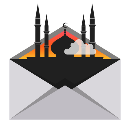 Mosque in envelope, concept travel, vector illustration